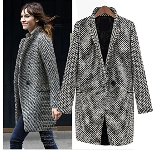 Nonbrand -  Cappotto  - Impermeabile - Donna Black-and-White