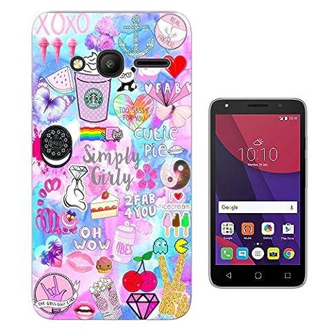 002720 - Emoji Stickers Panda Diamond Peace Hearts Cookies Design Alcatel Pixi 4 (4