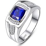 BONLAVIE Men's Engagement Ring 925 Sterling Silver Princess Cut Created Blue Sapphire Pave CZ Wedding Band Size 6-13