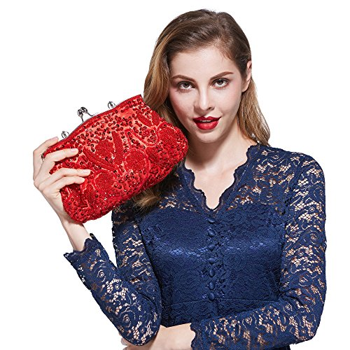 Höter Damen Handgemachte Perle Handtasche, Abendtasche Damen Clutch Für Party, Hochzeit (Red-abendtaschen Clutch)