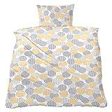 WOMETO Micro-Seersucker-Bettwäsche Kreise gelb-grau ca. 135x200cm, OekoTex