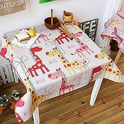 Anjcd Lindo dibujos animados animal patrón cuadrado mantel niño gato dinosaurio jirafa cocodrilo mesa de comedor mesa de centro ( Color : 5# , Tamaño : 110*110cm )