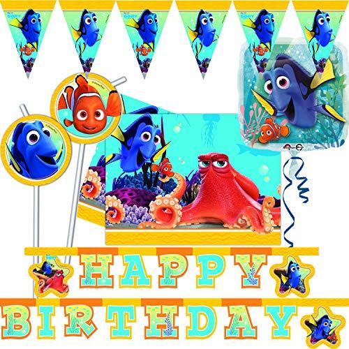 (Procos/Carpeta 53-TLG. Deko-Set * FINDET Dorie * für Kindergeburtstag & Mottoparty | mit Tischdecke + Girlande + Ballon u.v.m. | Kinder Motto Disney Nemo Dory Pixar)
