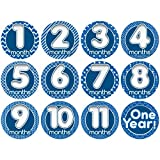 Grande Vente. Stick 'nsnap (TM) 'Happy Bulles Bleu mensuel de croissance Stickers pour bébé fille ou garçon. 8,3cm cm Diamètre Sticker. bavoirs à enfiler pour homme Body Creeper Femme ou Combinaison. Utiliser tous les mois pour prendre les photos et ajouter à Scrapbooking comme Souvenir. Utilisation comme Bébé Cadeau de douche ou chambre de bébé dà © cor. Couleurs vives Bold. (Lot de 12stickers)