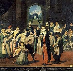 "Stampa artistica / Poster: Frans Pourbus der Ältere ""Kostümball unter Karl IX."" - stampa di alta qualità, immagini, poster artistici, 65x65 cm"