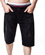 MOSE Hot!! Casual Shorts Casual Jeans Destroyed Knee Length Hole Ripped Hole Slim Pants Solid Shorts