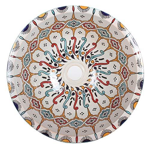 Mediterrane Keramik-Waschbecken Fes101 rund Ø 40 cm bunt H 18 cm Handmade Waschschale | Marokkanische Handwaschbecken Aufsatzwaschbecken für Badezimmer Küche Gäste-Bad | TOP Dekoration