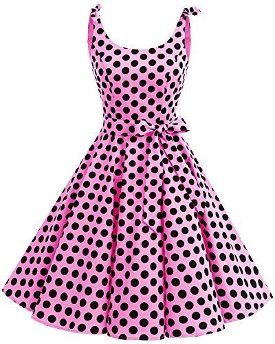 bbonlinedress 1950er Vintage Polka Dots Pinup Retro Rockabilly Kleid Cocktailkleider Pink Black Big...