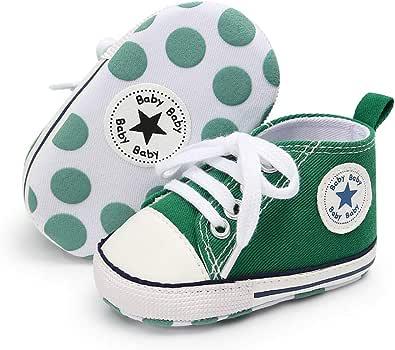 Babycute Chaussures de Toile pour bébé Baskets Occasionnelles à Semelle Souple Bébés garçons de Filles Chaussures First Walkers Lace Up
