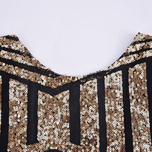 iBaste Bodycon Kleid Damen Pailletten Kleid Kurzarm Pencil Kleid elegant Minikleid Partykleid-GB-M - 6