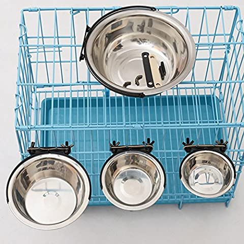 Pet Stainless Steel Bowl Hanging Fixed Anti-skid Inside and Outside Cage Feeding Drinking Water Food Bowls Dog Cat Puppy Kitty Bowls Water Basin Pet Rice Bowls Plate dog cage (XS)