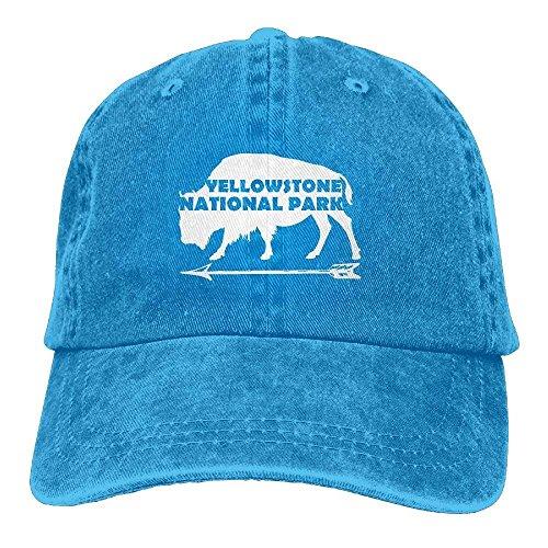 Stone National Park Old Faithful Buffalo Plain Adjustable Cowboy Cap Denim Hat for Women and Men C4 - Buffalo Fitted T-shirt