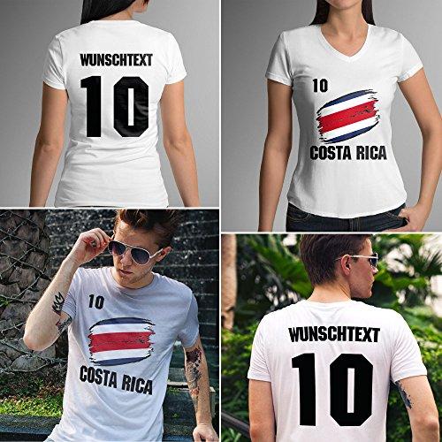 Costa Rica | Männer oder Frauen Trikot T - Shirt mit Wunsch Nummer + Wunsch Name | WM 2018 T-Shirt