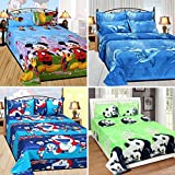 Sky Tex Super Saver Combo Of 4 Multi Color Poly Cotton 140 TC 3D Printed Queen Size Kids Double Bed Sheets With 8 Pillow Covers