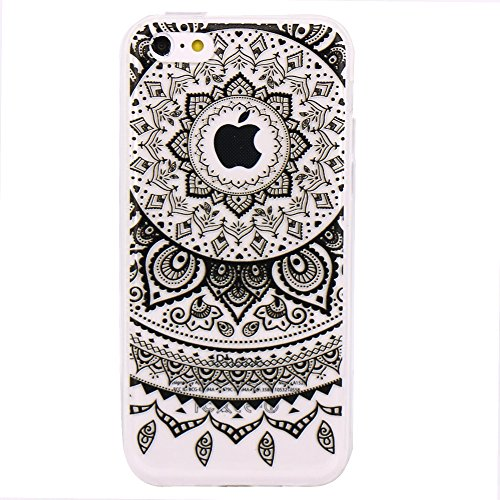 iPhone 5c Hülle, JIAXIUFEN Neue Modelle TPU Silikon Schutz Handy Hülle Case Tasche Etui Bumper für Apple iPhone 5C - Blue Purple Tribal Mandala Color23