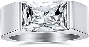 Bling Jewelry Personalizzare Geometrico 4CT Rettangolare Simulato Zaffiro Incolore Cubico Zirconia Taglio Smeraldo AAA CZ Anello di Fidanzamento Uomo Uomo Argento Tono Acciaio Inossidabile
