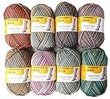 Regia 8X 150g Sockenwolle Paket Stripe Color 6fädig, 1,2kg Sockenwolle Sortiert