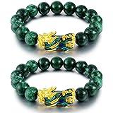 Goldenlight 2 Pcs Pi Xiu Bracelet Feng Shui Green Jade Wealth Bracelet for Women Men Adjustable Elastic