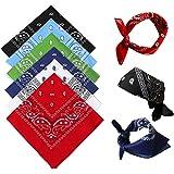 NETUME Bandana hoofddoek voor dames en heren, 6 stuks, katoen, paisley, halsdoek, hoofdsjaal, vierkante halsdoek, bandana, do