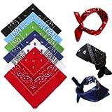Bandanas for Men Women 6 Pack, Cotton Paisley Headbands Scarf Cowboy Bandana, Square Bandanas ideal for Hip-Hop Cycling…