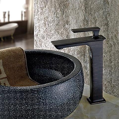 GXR Kontinentale Kupfer und schwarz bronze Retro-Spüle von kaltem Wasser heiß Wasserhahn am Waschbecken-Mischbatterie Black Dragon,Hoch