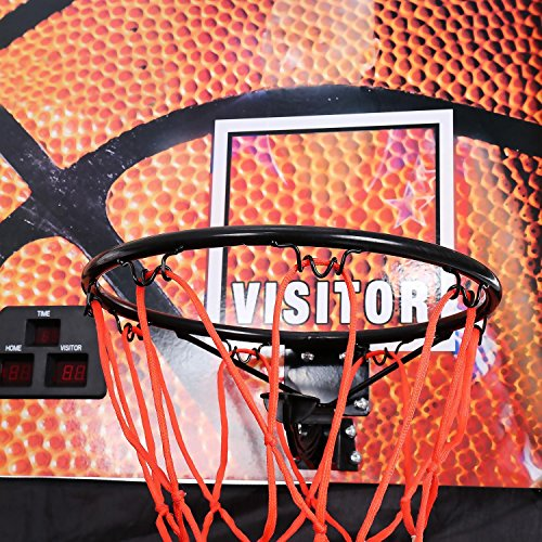 aceshin Juego de Baloncesto Electrónico Plegable Canasta Baloncesto Juguete de Baloncesto Doble para Niños y Adultos