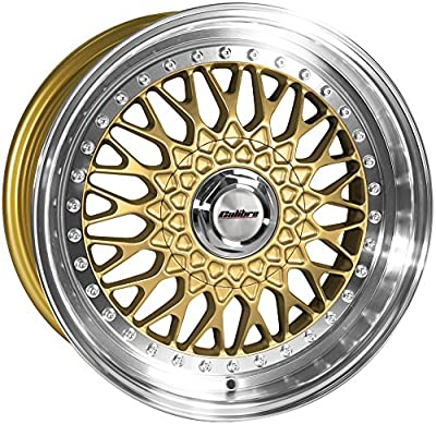 "Felge Calibre Vintage 8x17"" Gold/polished lip 4x100~4x108 ET35"