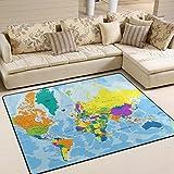 JSTEL ingbags Super Weich Moderner sehr detaillierte Weltkarte, ein Wohnzimmer Teppiche Teppich Schlafzimmer Teppich für Kinder Play massiv Home Decorator Boden Teppich und Teppiche 160x 121,9cm, multi, 63 x 48 Inch