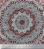 Soimoi Rot Georgette Viskose Stoff Marokkanische & Mandala