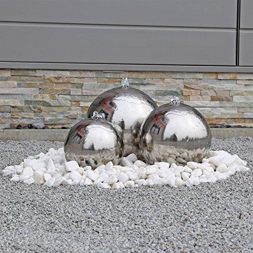 floristikvergleich.de Edelstahl Springbrunnen ESB2 mit 3 aufwendig polierten Edelstahl Kugeln und LED Beleuchtung Zierbrunnen für den Garten