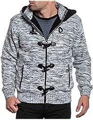 BLZ jeans - Gilet fourré homme noir et blanc à capuche