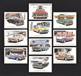 American Autos 1950er – DE SOTO Sportler, Chevrolet Styleline Deluxe, Dodge Royal 500, Ford Fairlane Crown Victoria, Chrysler-300, Studebaker Corporation Golden Hawk, Edsel Ranger, Ford Continental MK2, Cadilac Serie 62 – Sammler Karten