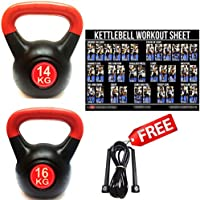FXR SPORTS 14 & 16KG KETTLEBELLS VINYL KETTLEBELL SET HOME GYM STRENGTH WEIGHTS