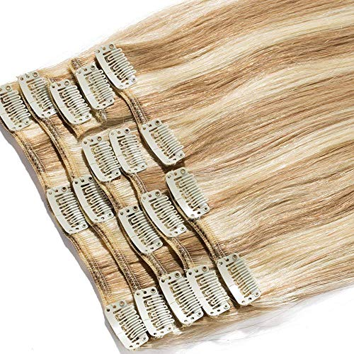 Extensions a Clip Cheveux Naturel Cheveux Humain 8 Bandes 100% Human Remy Hair #12+#613 Mix, 40cm-90g