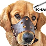 SEVICAT Einstellbare Leder Hund Maulkorb, Lightweight Durable, für Anti-bite Anti-bellen Anti-Kauen-Schutz (M, Brown)