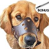 Einstellbare Leder Hund Maulkorb, Lightweight Durable, für Anti-bite Anti-bellen Anti-Kauen-Schutz (XL, Braun)