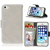 BONROY iPhone SE 5S 5 PU Ledercase Tasche Hüllen Schutz Hülle Scratch Magnetverschluss Telefon-Kasten Handy Hülle Standfunktion Handycover-