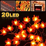 Vivibel LED Ahornblatt Lichterketten, 20 LED Herbst Blättergirlande Maple Leaf Lichterketten Ahornblätter Girlande, Herbstgirlande für Hochzeiten Erntedankfest Deko Zuhause Herbstparty