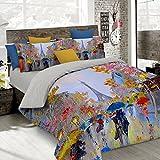 Italian Bed Linen Parure Copripiumino con Stampa Digitale a Copertura Totale Sul Sacco e Sulle Federe 2 Posti 100% Cotone, Multicolore (SD18), 250x200x1 cm