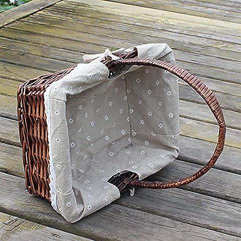 GUO-Raccolta Tengzhi verdure diagonale cesto cesto di frutta cesto Willow picnic portatile (Woven Willow Picnic Basket)