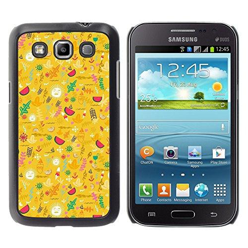 WonderWall Tapete Bunt Bild Handy Hart Schutz hülle Case Cover Schale Etui für Samsung Galaxy Win I8550 I8552 Grand Quattro - gelb glücklich optimistisch Muster