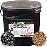 GOLDSPAN smoke B 7/20 Räucherspäne Räuchern Buche Räucherholz Smoking 5kg inkl. Abfüllschaufel und Wacholder Beeren
