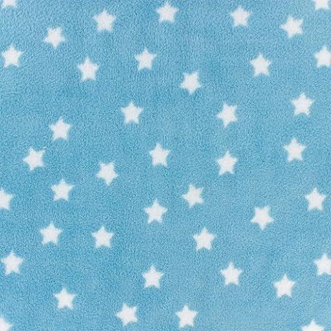 Tissu enfantin Kiyohara - Doudou polaire motif Etoile Bleu x10cm
