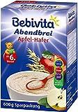 Bebivita Abendbrei Apfel-Hafer - ab dem 6. Monat, 4er Pack (4 x 600g)