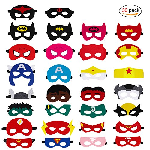 Qh-shop superhero masks,felt masks colors party cosplay masks with elastic rope for children 30packs