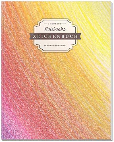 DÉKOKIND Zeichenbuch | DIN A4, 122 Seiten, Register, Vintage Softcover | Dickes Blanko-Notizbuch zum Selbstgestalten | Motiv: Farbverlauf