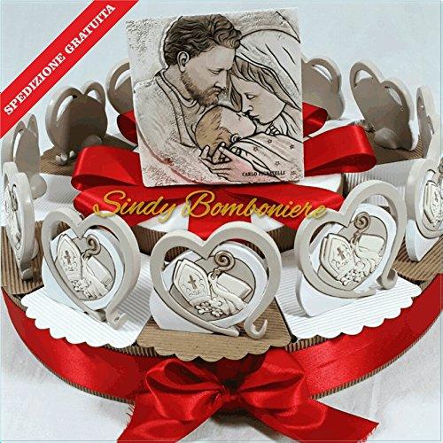 Torta bomboniera cresima con bomboniere da appoggio e centrale sacra famiglia carlo pignatelli spedizione gratuita (torta da 12 fette)