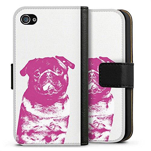 Apple iPhone 8 Plus Silikon Hülle Case Schutzhülle Pink Pug Hund Mops Sideflip Tasche schwarz