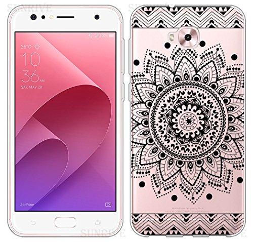 Sunrive Für Asus Zenfone 4 Selfie Pro ZD552KL 5,5 Zoll Hülle Silikon, Transparent Handyhülle Schutzhülle Etui Case Backcover(TPU Blume Schwarze)+Gratis Universal Eingabestift