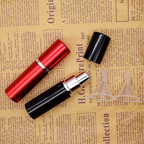 Dolovemk Tragbare 2Stück 10ml leer nachfüllbar Parfum-Spray Flaschen Reise atomizers Duft Aftershave-Alu-Muschel mit Flaschen + Trichter Füllstoffe mit Werkzeug